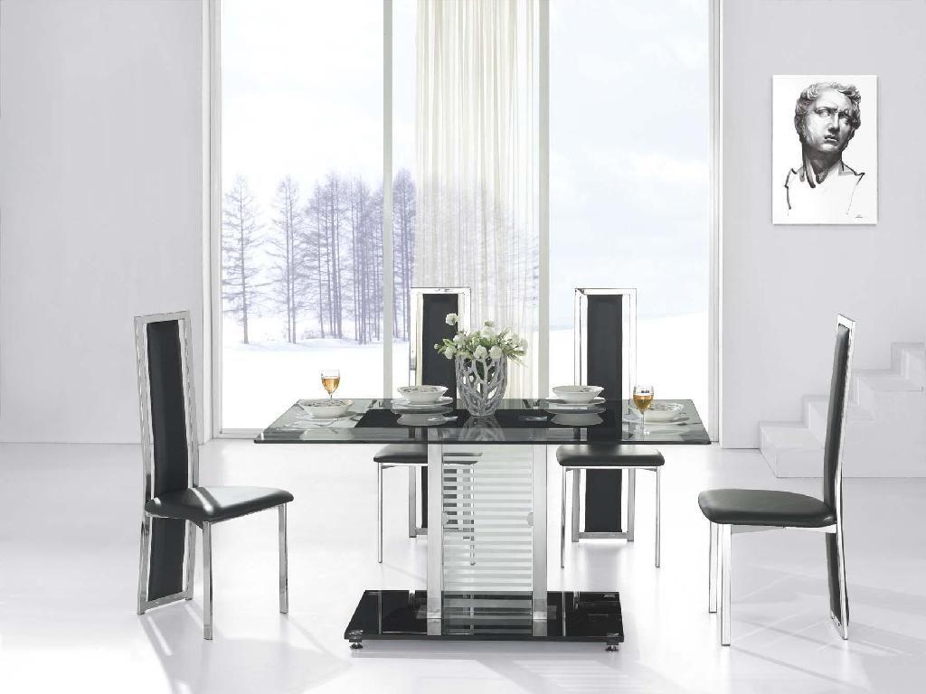 Mesa de comedor moderna im genes y fotos for Mesas y sillas para salon comedor
