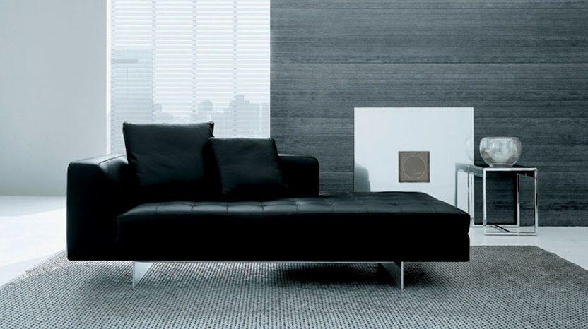 Sof moderno de cuero negro im genes y fotos - Salones con sofa negro ...